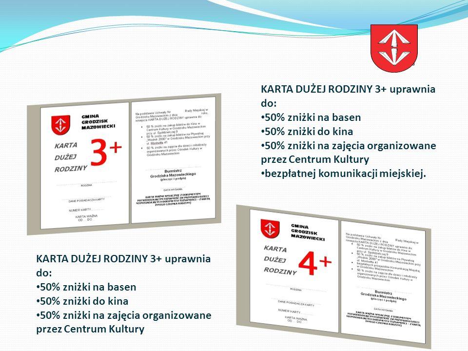 Od kiedy mamy Kartę Duża Rodzina: W dniu 17 grudnia 2008 roku Rada Miejska w Grodzisku Mazowieckim przyjęła Uchwałę Nr 368/2008 w sprawie podjęcia działań zmierzających do polepszenia warunków życiowych wielodzietnych rodzin zamieszkałych na terenie gminy Grodzisk Mazowiecki.