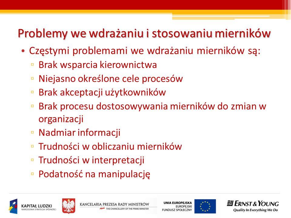 Problemy we wdrażaniu i stosowaniu mierników Częstymi problemami we wdrażaniu mierników są: Brak wsparcia kierownictwa Niejasno określone cele procesó