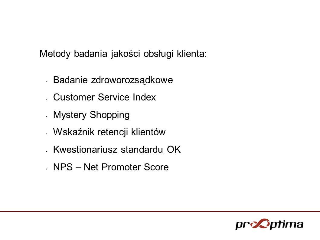 Metody badania jakości obsługi klienta: Badanie zdroworozsądkowe Customer Service Index Mystery Shopping Wskaźnik retencji klientów Kwestionariusz sta