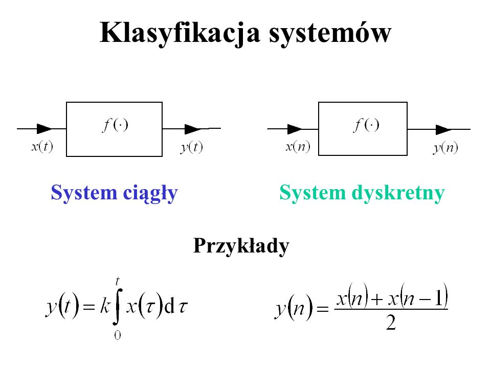 Klasyfikacja systemów System ciągłySystem dyskretny Przykłady