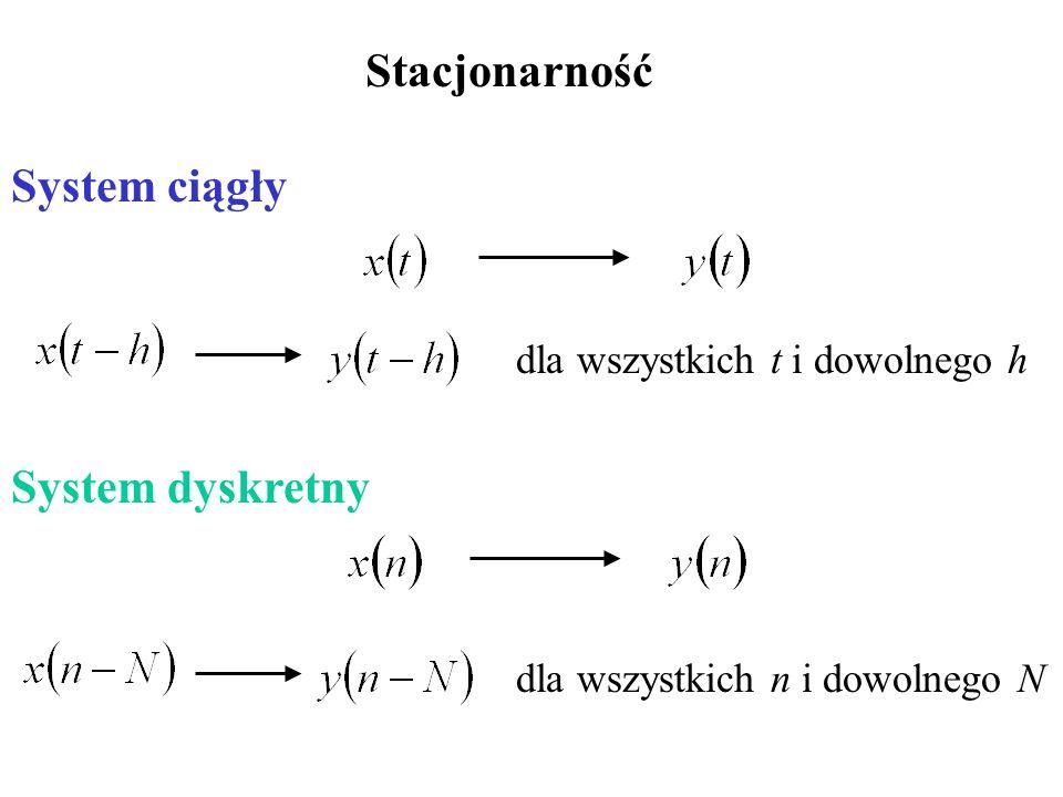 Stacjonarność System ciągły System dyskretny dla wszystkich t i dowolnego h dla wszystkich n i dowolnego N
