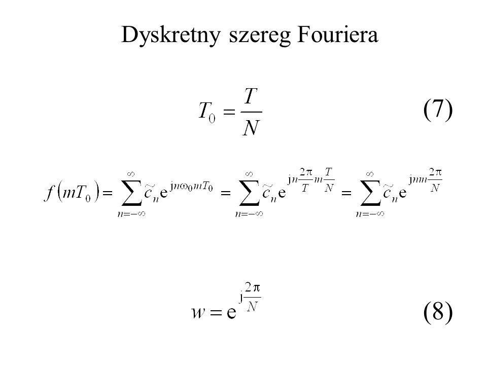(7) (8) Dyskretny szereg Fouriera