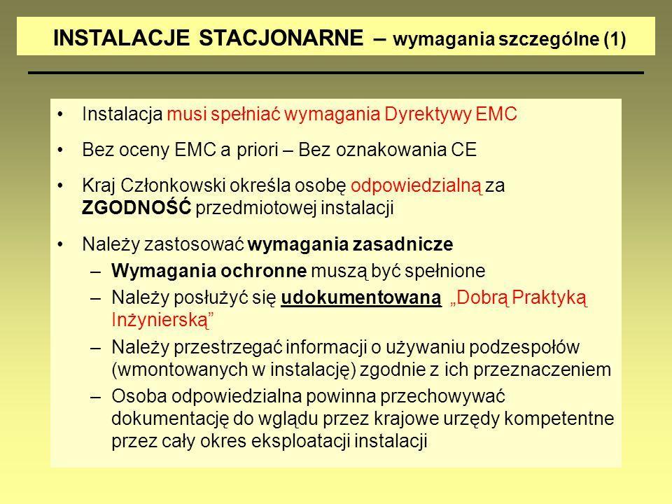 Instalacja musi spełniać wymagania Dyrektywy EMC Bez oceny EMC a priori – Bez oznakowania CE Kraj Członkowski określa osobę odpowiedzialną za ZGODNOŚĆ