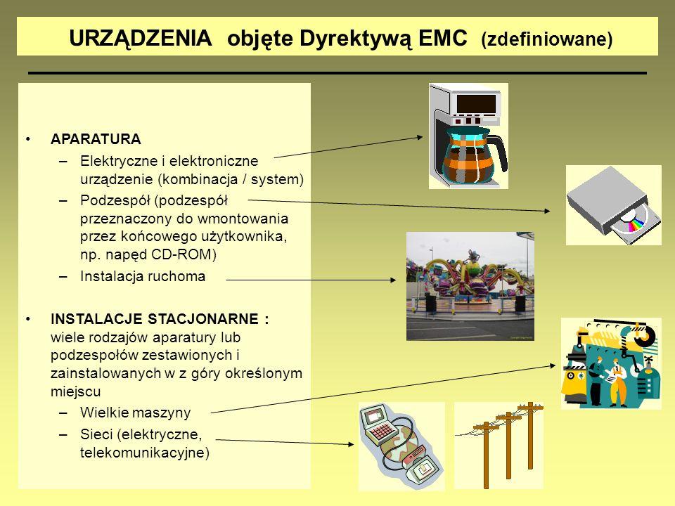 APARATURA –Elektryczne i elektroniczne urządzenie (kombinacja / system) –Podzespół (podzespół przeznaczony do wmontowania przez końcowego użytkownika,