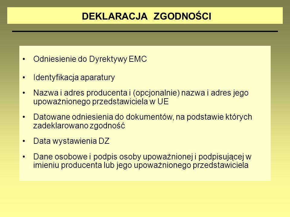 DEKLARACJA ZGODNOŚCI Odniesienie do Dyrektywy EMC Identyfikacja aparatury Nazwa i adres producenta i (opcjonalnie) nazwa i adres jego upoważnionego pr