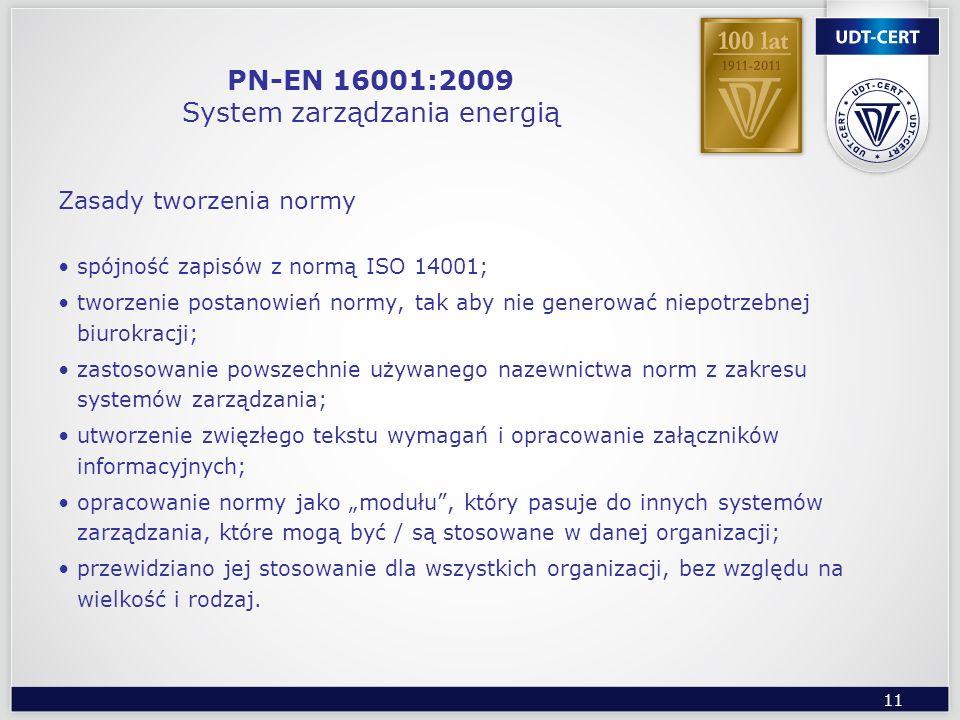 11 PN-EN 16001:2009 System zarządzania energią Zasady tworzenia normy spójność zapisów z normą ISO 14001; tworzenie postanowień normy, tak aby nie gen