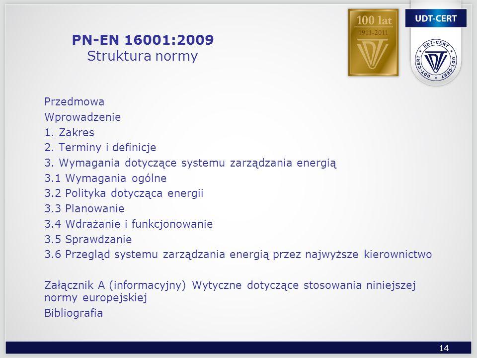 14 PN-EN 16001:2009 Struktura normy Przedmowa Wprowadzenie 1. Zakres 2. Terminy i definicje 3. Wymagania dotyczące systemu zarządzania energią 3.1 Wym