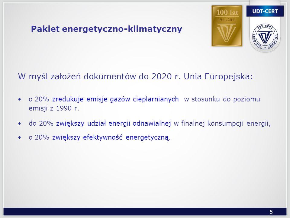 5 Pakiet energetyczno-klimatyczny W myśl założeń dokumentów do 2020 r. Unia Europejska: o 20% zredukuje emisje gazów cieplarnianych w stosunku do pozi