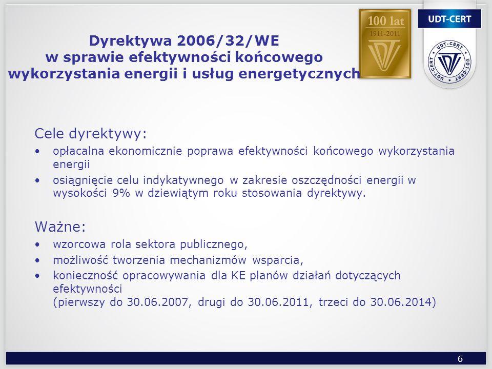 6 Dyrektywa 2006/32/WE w sprawie efektywności końcowego wykorzystania energii i usług energetycznych Cele dyrektywy: opłacalna ekonomicznie poprawa ef
