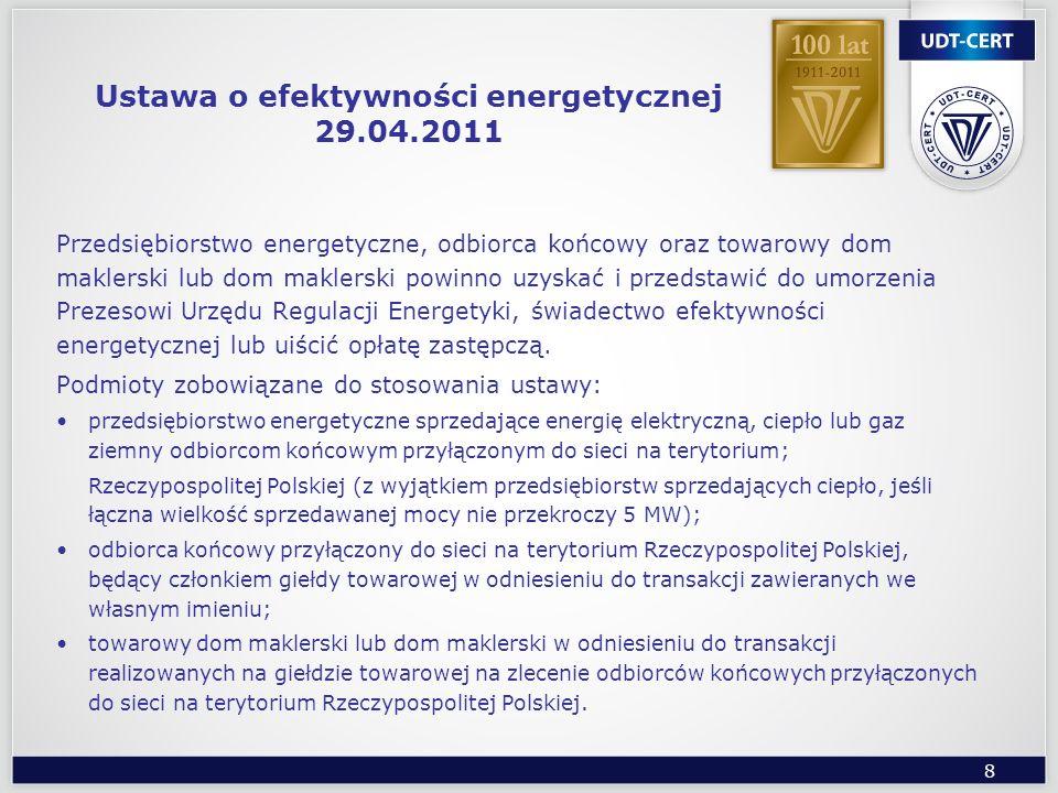 8 Ustawa o efektywności energetycznej 29.04.2011 Przedsiębiorstwo energetyczne, odbiorca końcowy oraz towarowy dom maklerski lub dom maklerski powinno