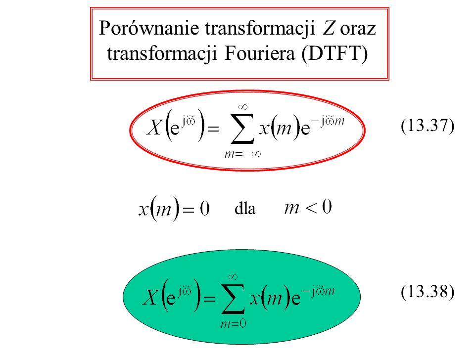 Porównanie transformacji Z oraz transformacji Fouriera (DTFT) dla (13.37) (13.38)