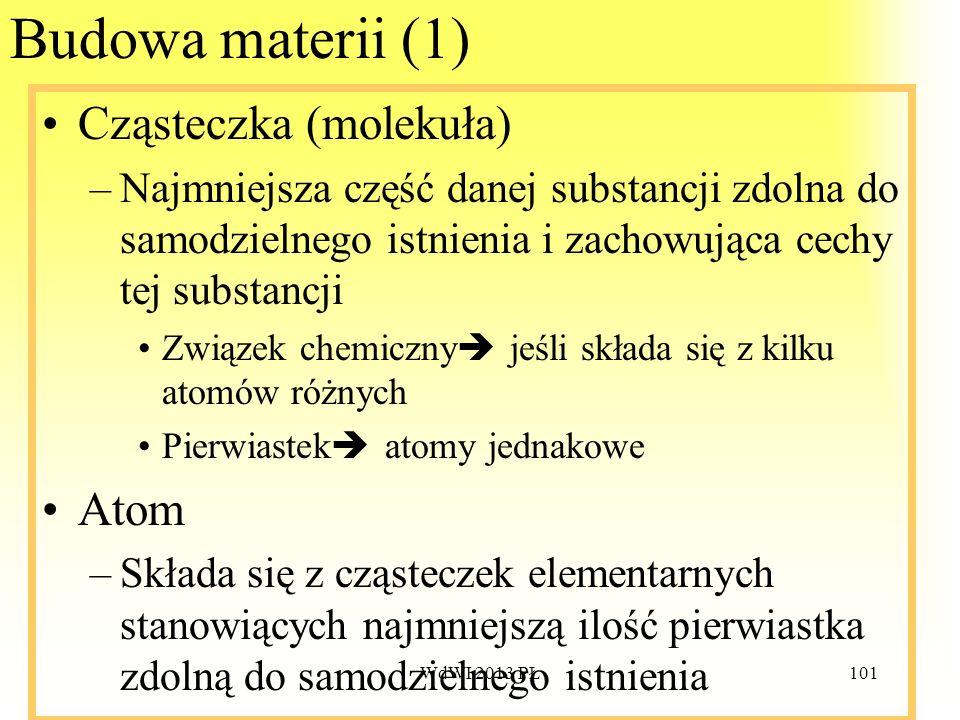 WdWI 2013 PŁ101 Budowa materii (1) Cząsteczka (molekuła) –Najmniejsza część danej substancji zdolna do samodzielnego istnienia i zachowująca cechy tej