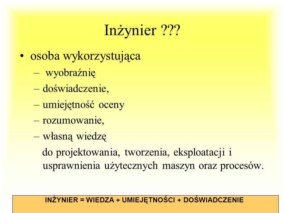 WdWI 2013 PŁ11 Inżynier ??? osoba wykorzystująca – wyobraźnię –doświadczenie, –umiejętność oceny –rozumowanie, –własną wiedzę do projektowania, tworze