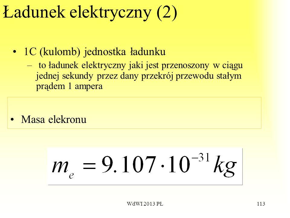 WdWI 2013 PŁ113 Ładunek elektryczny (2) 1C (kulomb) jednostka ładunku – to ładunek elektryczny jaki jest przenoszony w ciągu jednej sekundy przez dany