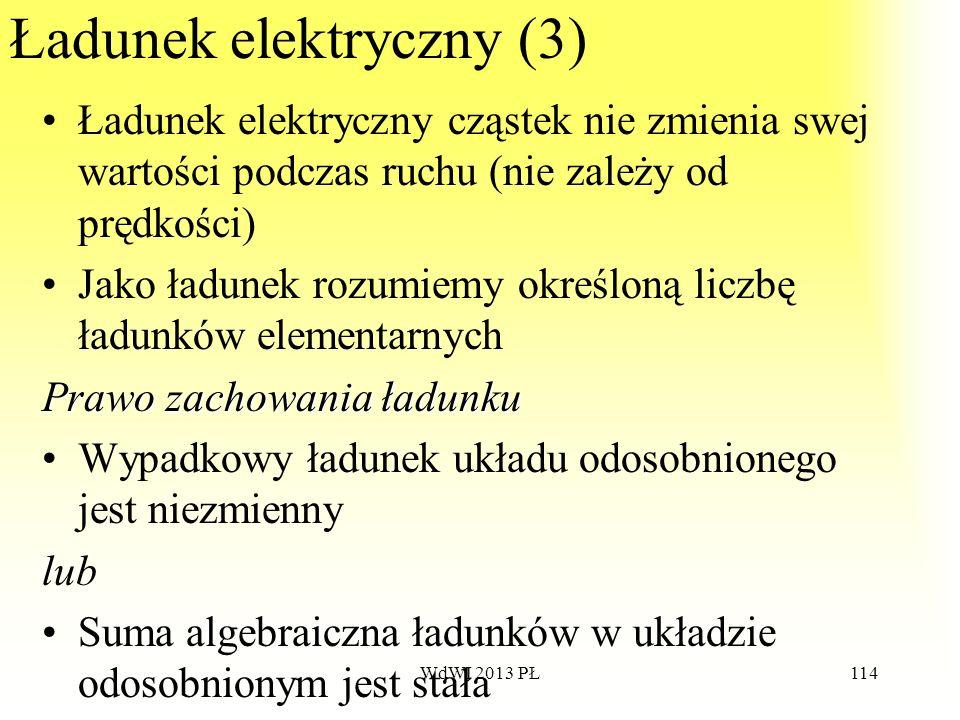 WdWI 2013 PŁ114 Ładunek elektryczny (3) Ładunek elektryczny cząstek nie zmienia swej wartości podczas ruchu (nie zależy od prędkości) Jako ładunek roz