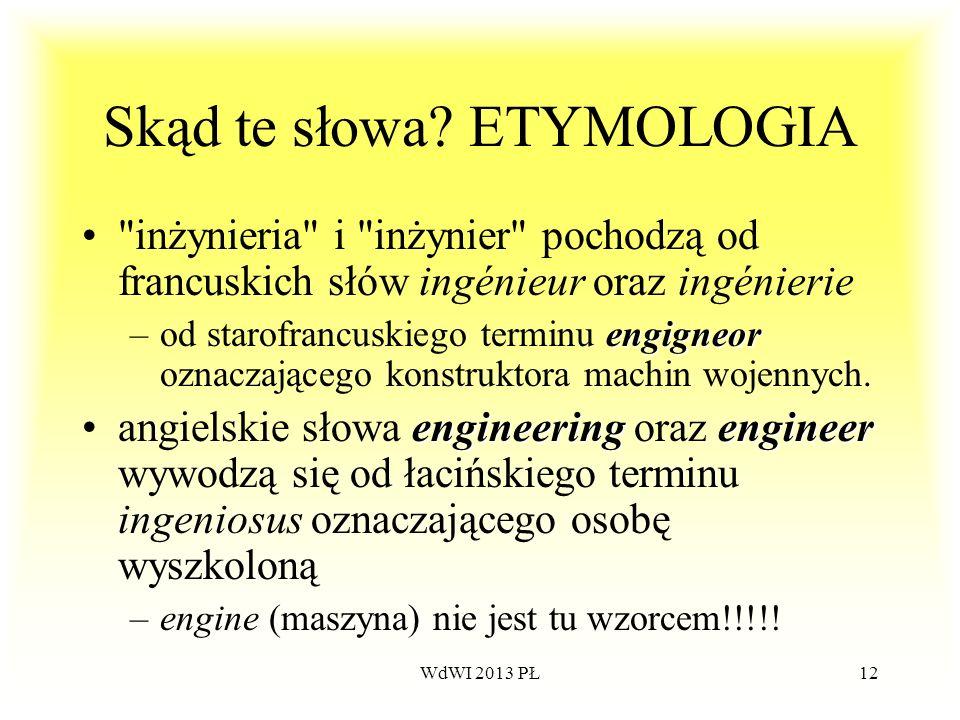 WdWI 2013 PŁ12 Skąd te słowa? ETYMOLOGIA