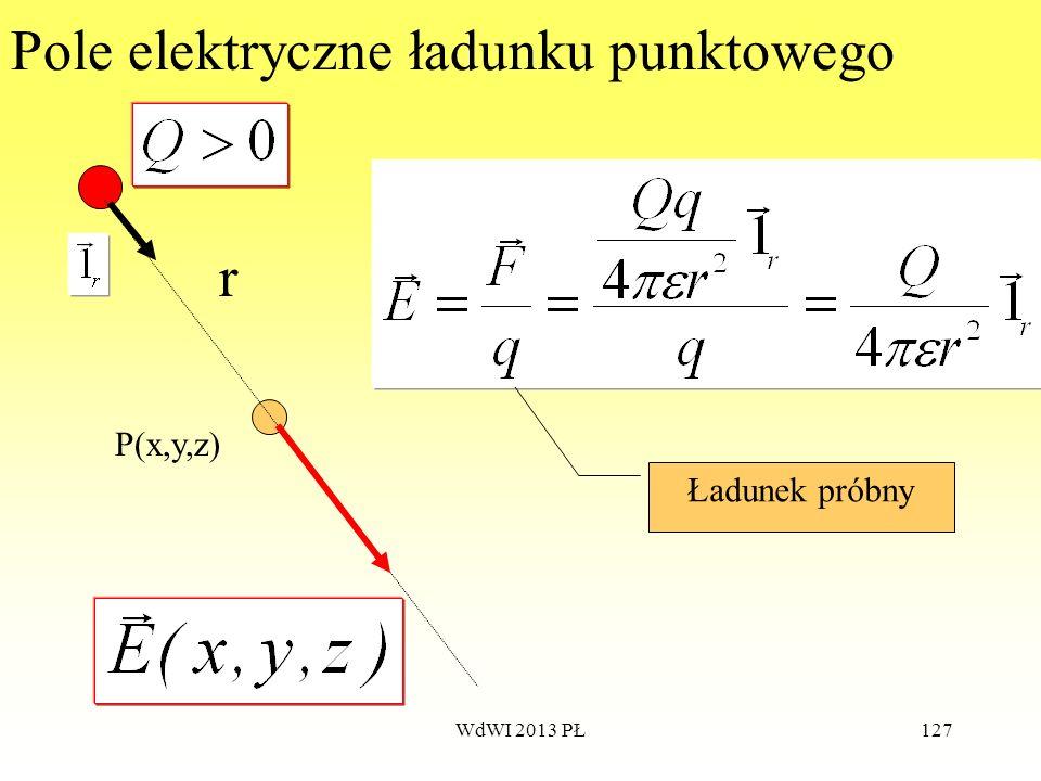 WdWI 2013 PŁ127 Pole elektryczne ładunku punktowego P(x,y,z) r Ładunek próbny