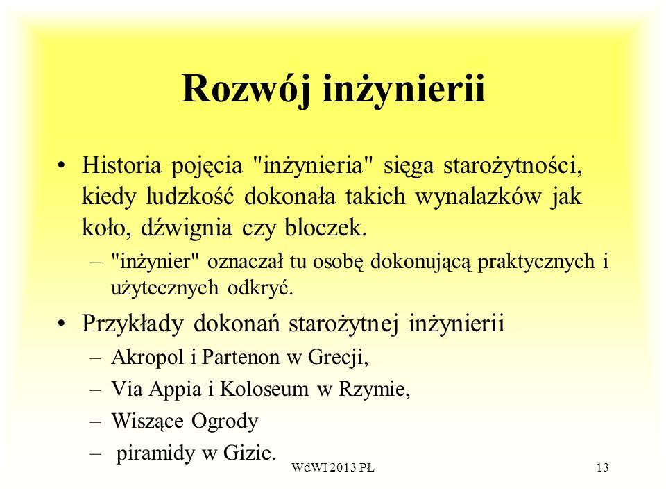 WdWI 2013 PŁ13 Rozwój inżynierii Historia pojęcia