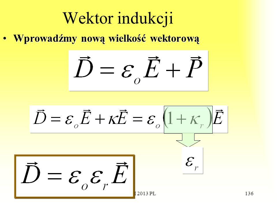 WdWI 2013 PŁ136 Wektor indukcji Wprowadźmy nową wielkość wektorowąWprowadźmy nową wielkość wektorową