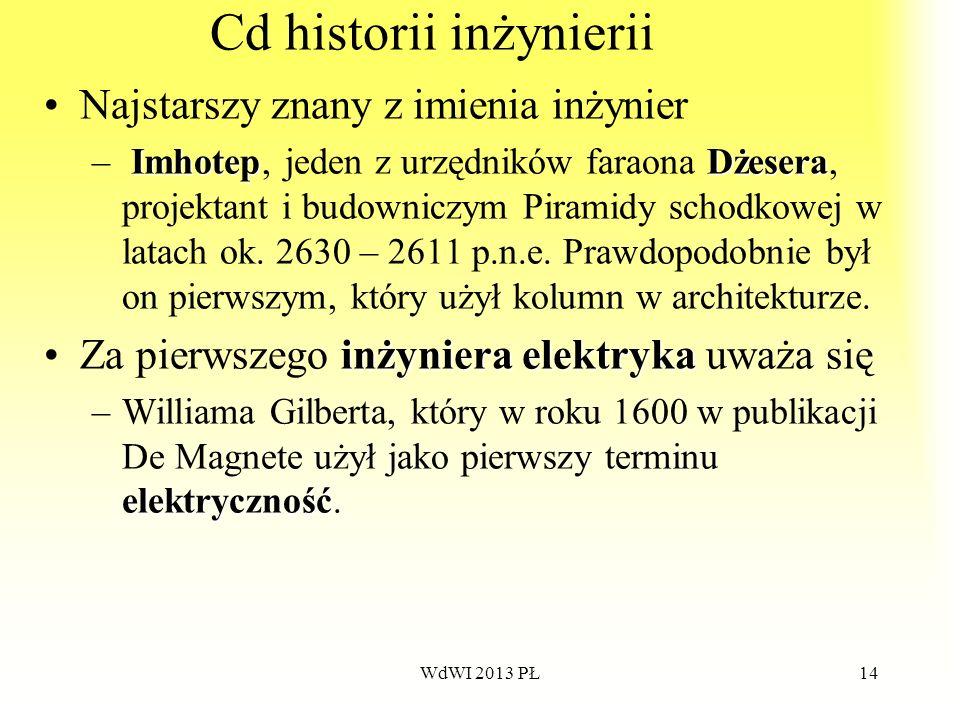 WdWI 2013 PŁ14 Cd historii inżynierii Najstarszy znany z imienia inżynier ImhotepDżesera – Imhotep, jeden z urzędników faraona Dżesera, projektant i b