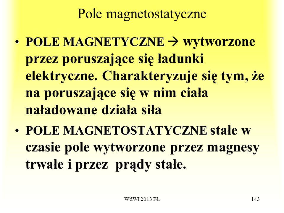 WdWI 2013 PŁ143 Pole magnetostatyczne POLE MAGNETYCZNEPOLE MAGNETYCZNE wytworzone przez poruszające się ładunki elektryczne. Charakteryzuje się tym, ż
