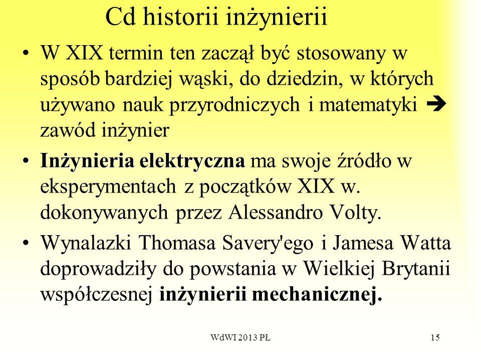 WdWI 2013 PŁ15 Cd historii inżynierii W XIX termin ten zaczął być stosowany w sposób bardziej wąski, do dziedzin, w których używano nauk przyrodniczyc