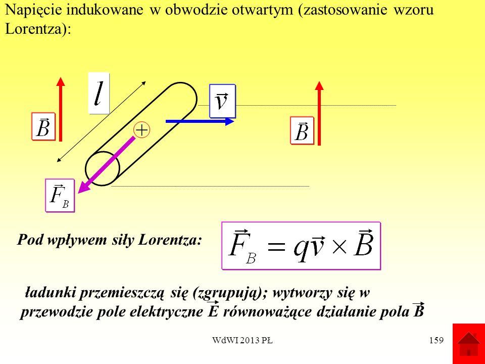 WdWI 2013 PŁ159 Napięcie indukowane w obwodzie otwartym (zastosowanie wzoru Lorentza): + Pod wpływem siły Lorentza: ładunki przemieszczą się (zgrupują