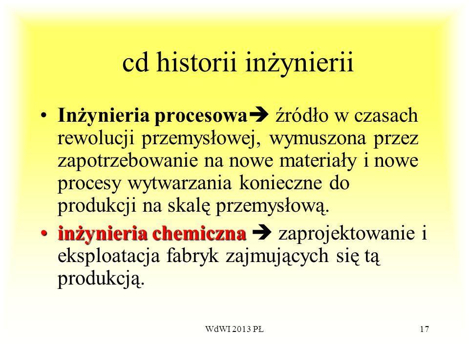 WdWI 2013 PŁ17 cd historii inżynierii Inżynieria procesowa źródło w czasach rewolucji przemysłowej, wymuszona przez zapotrzebowanie na nowe materiały