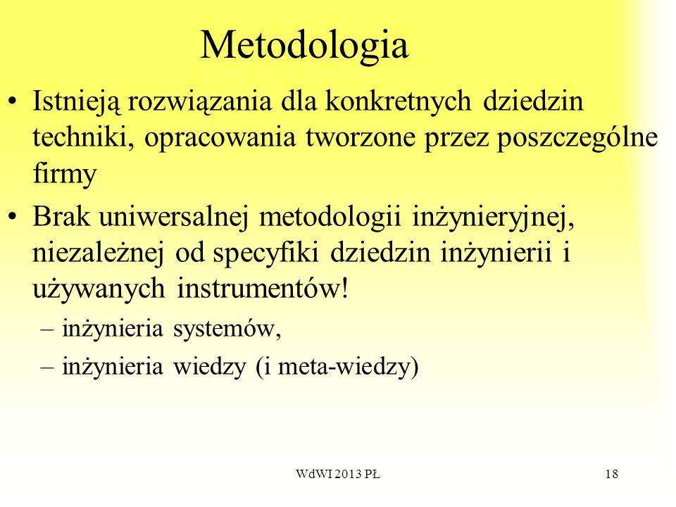 WdWI 2013 PŁ18 Metodologia Istnieją rozwiązania dla konkretnych dziedzin techniki, opracowania tworzone przez poszczególne firmy Brak uniwersalnej met