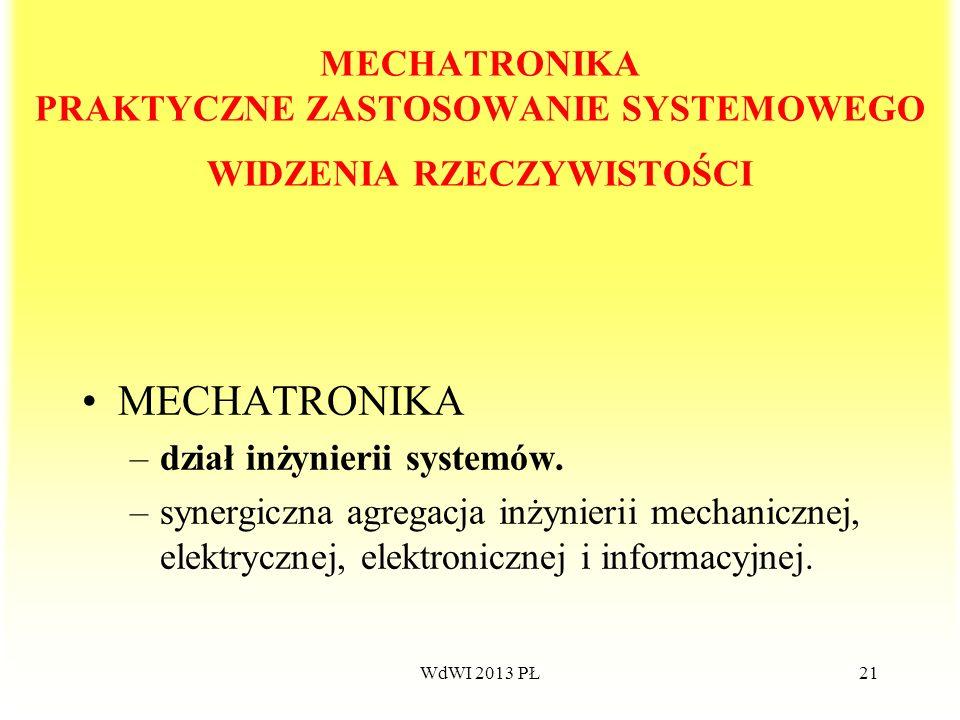 WdWI 2013 PŁ21 MECHATRONIKA PRAKTYCZNE ZASTOSOWANIE SYSTEMOWEGO WIDZENIA RZECZYWISTOŚCI MECHATRONIKA –dział inżynierii systemów. –synergiczna agregacj