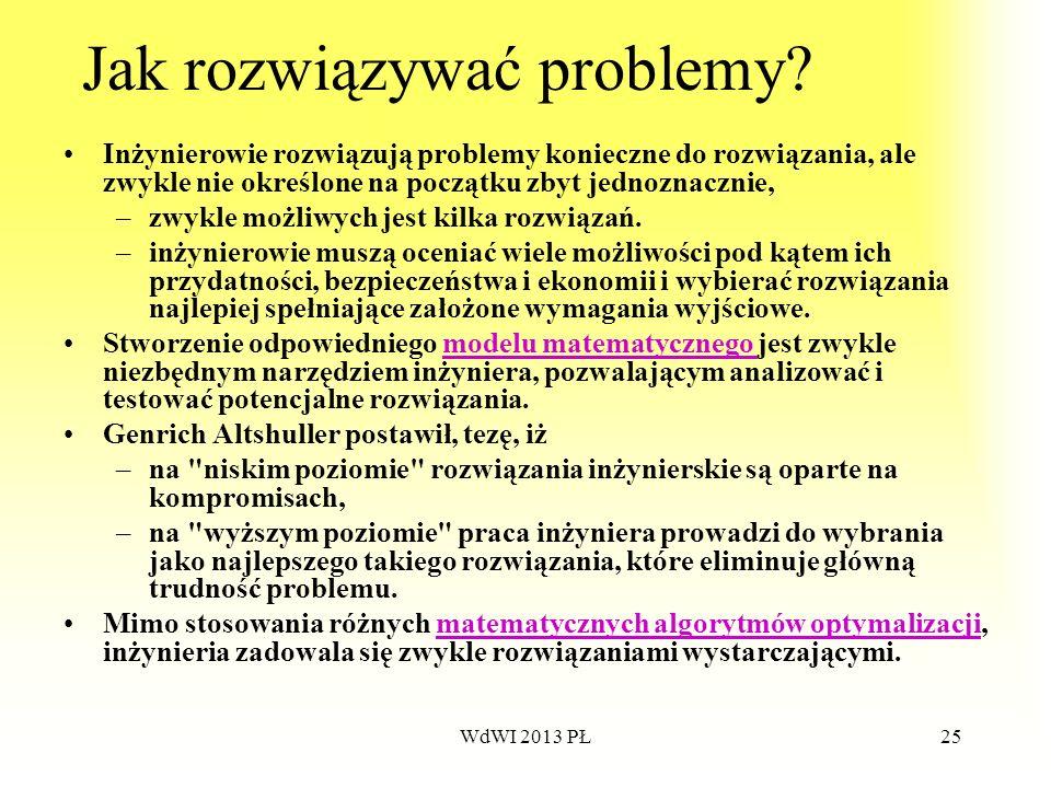 WdWI 2013 PŁ25 Jak rozwiązywać problemy? Inżynierowie rozwiązują problemy konieczne do rozwiązania, ale zwykle nie określone na początku zbyt jednozna