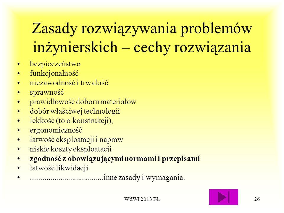 WdWI 2013 PŁ26 Zasady rozwiązywania problemów inżynierskich – cechy rozwiązania bezpieczeństwo funkcjonalność niezawodność i trwałość sprawność prawid