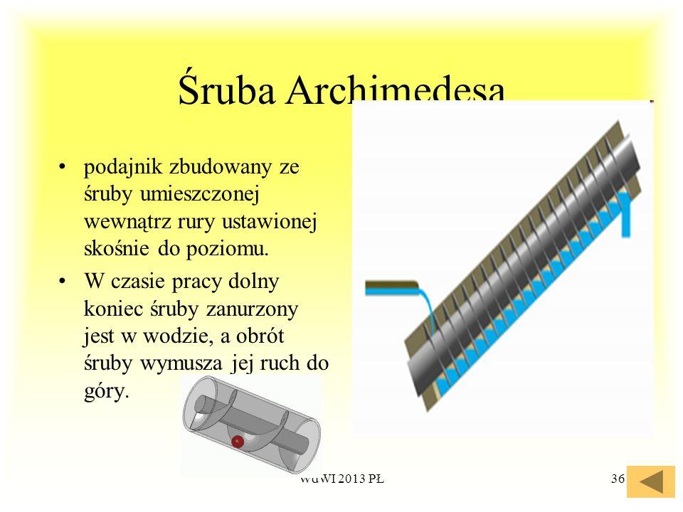 WdWI 2013 PŁ36 Śruba Archimedesa podajnik zbudowany ze śruby umieszczonej wewnątrz rury ustawionej skośnie do poziomu. W czasie pracy dolny koniec śru