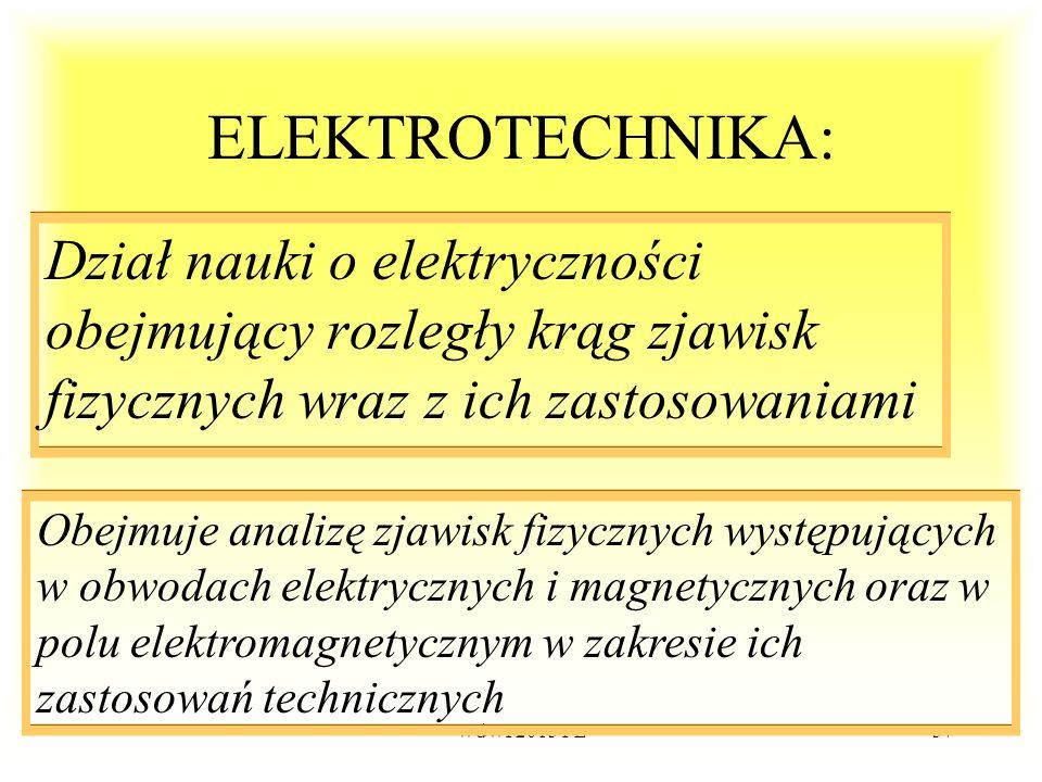 WdWI 2013 PŁ37 ELEKTROTECHNIKA: Dział nauki o elektryczności obejmujący rozległy krąg zjawisk fizycznych wraz z ich zastosowaniami Obejmuje analizę zj