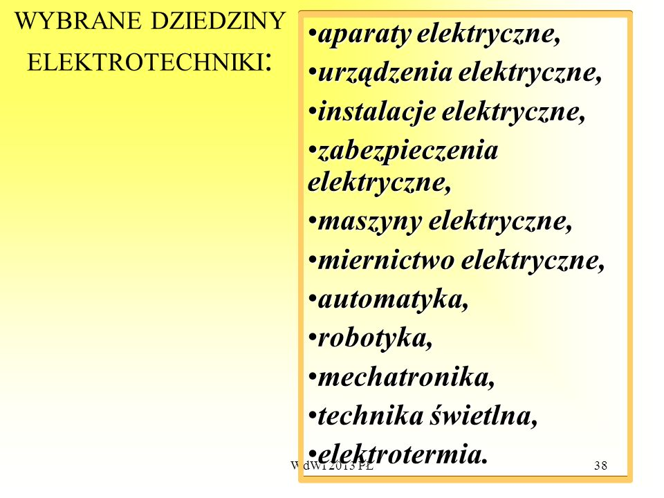 WdWI 2013 PŁ38 WYBRANE DZIEDZINY ELEKTROTECHNIKI : aparatyaparaty elektryczne, urządzeniaurządzenia elektryczne, instalacjeinstalacje elektryczne, zab