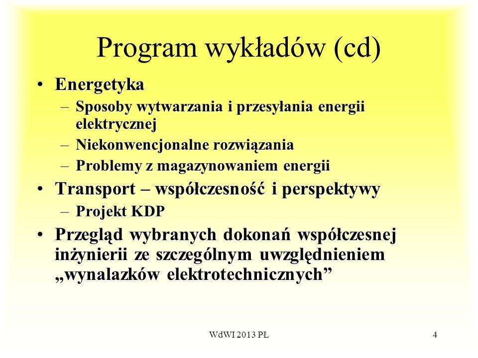 WdWI 2013 PŁ4 Program wykładów (cd) EnergetykaEnergetyka –Sposoby wytwarzania i przesyłania energii elektrycznej –Niekonwencjonalne rozwiązania –Probl