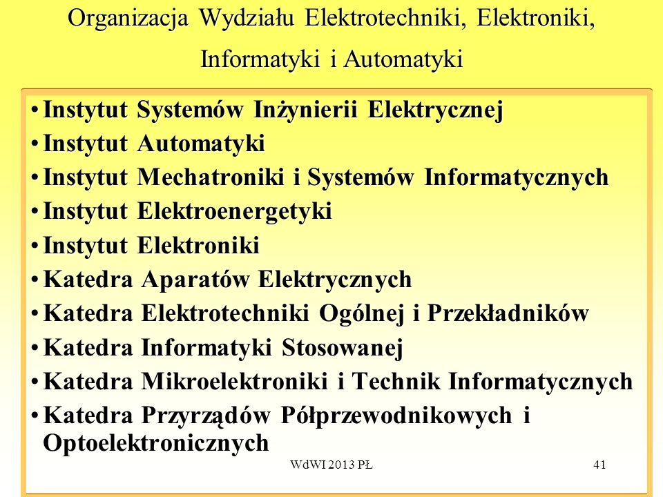 WdWI 2013 PŁ41 Organizacja Wydziału Elektrotechniki, Elektroniki, Informatyki i Automatyki Instytut Systemów Inżynierii ElektrycznejInstytut Systemów