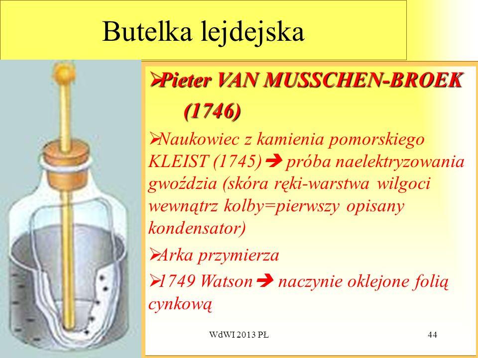 WdWI 2013 PŁ44 Butelka lejdejska Pieter Pieter VAN MUSSCHEN-BROEK (1746) Naukowiec z kamienia pomorskiego KLEIST (1745) próba naelektryzowania gwoździ
