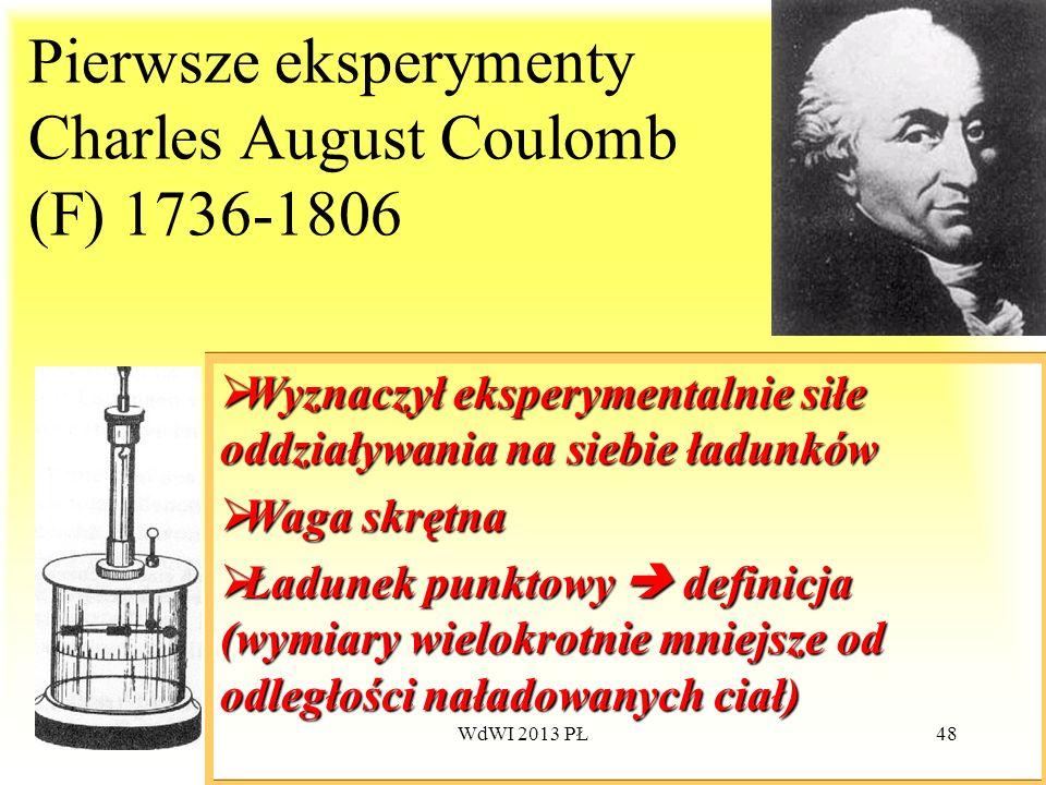 WdWI 2013 PŁ48 Pierwsze eksperymenty Charles August Coulomb (F) 1736-1806 Wyznaczył eksperymentalnie siłe oddziaływania na siebie ładunków Wyznaczył e