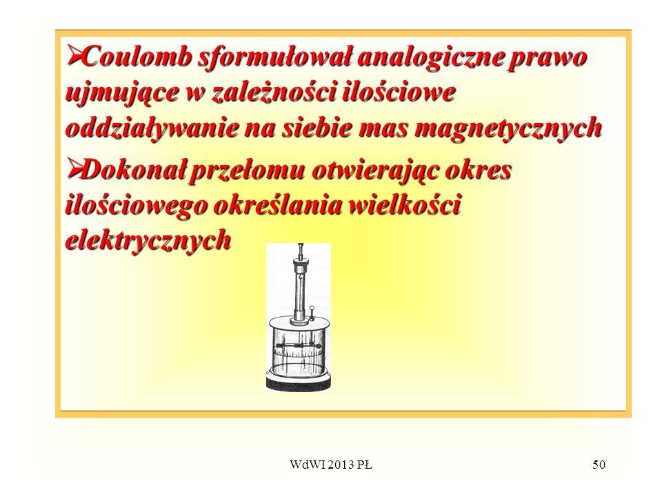 WdWI 2013 PŁ50 Coulomb sformułował analogiczne prawo ujmujące w zależności ilościowe oddziaływanie na siebie mas magnetycznych Coulomb sformułował ana