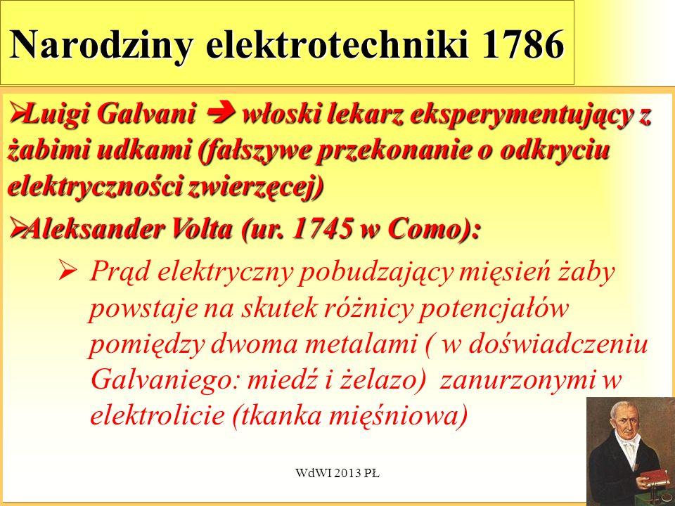 WdWI 2013 PŁ51 Narodziny elektrotechniki 1786 Luigi Galvani włoski lekarz eksperymentujący z żabimi udkami (fałszywe przekonanie o odkryciu elektryczn