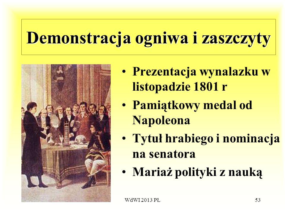WdWI 2013 PŁ53 Demonstracja ogniwa i zaszczyty Prezentacja wynalazku w listopadzie 1801 r Pamiątkowy medal od Napoleona Tytuł hrabiego i nominacja na