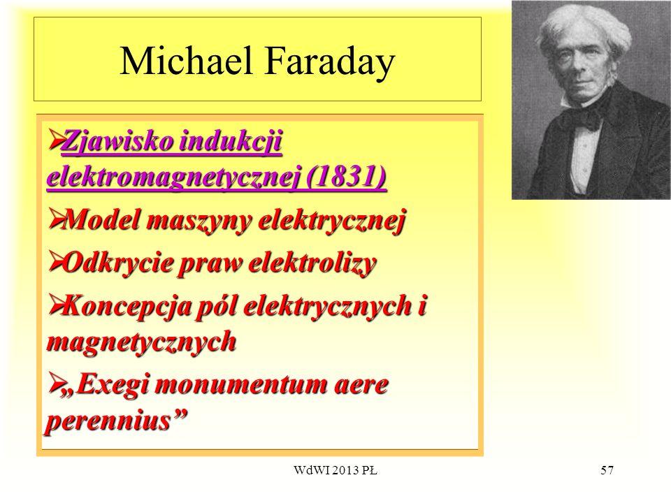 WdWI 2013 PŁ57 Michael Faraday Zjawisko Zjawisko Zjawisko indukcji elektromagnetycznej (1831) Model Model maszyny elektrycznej Odkrycie Odkrycie praw