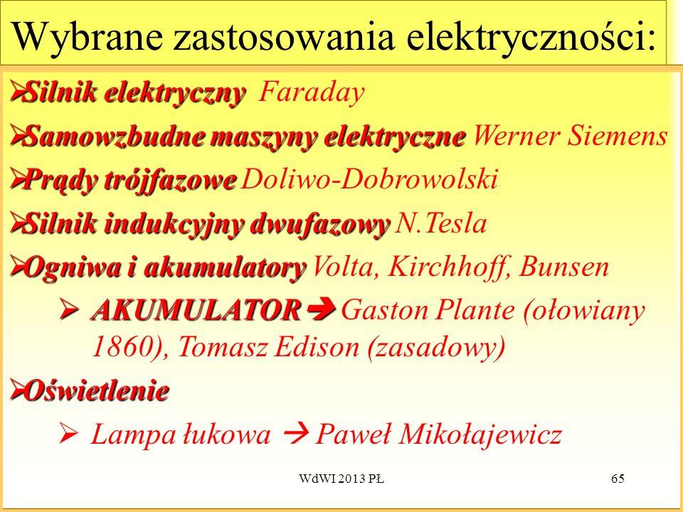 WdWI 2013 PŁ65 Wybrane zastosowania elektryczności: Silnik elektryczny Silnik elektryczny Faraday Samowzbudne maszyny elektryczne Samowzbudne maszyny