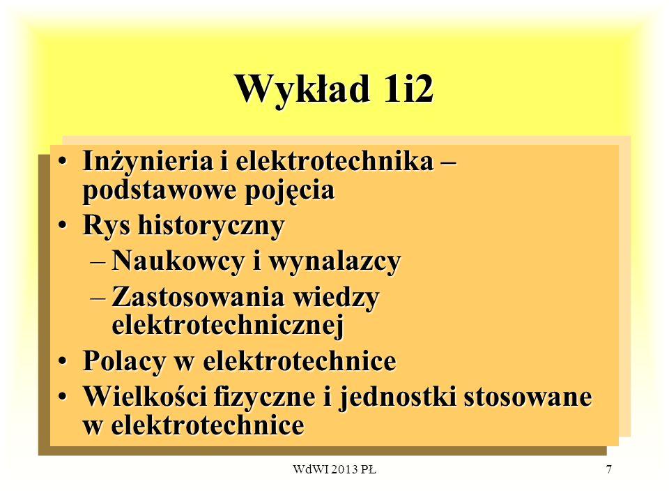 WdWI 2013 PŁ7 Wykład 1i2 Inżynieria i elektrotechnika – podstawowe pojęciaInżynieria i elektrotechnika – podstawowe pojęcia Rys historycznyRys history