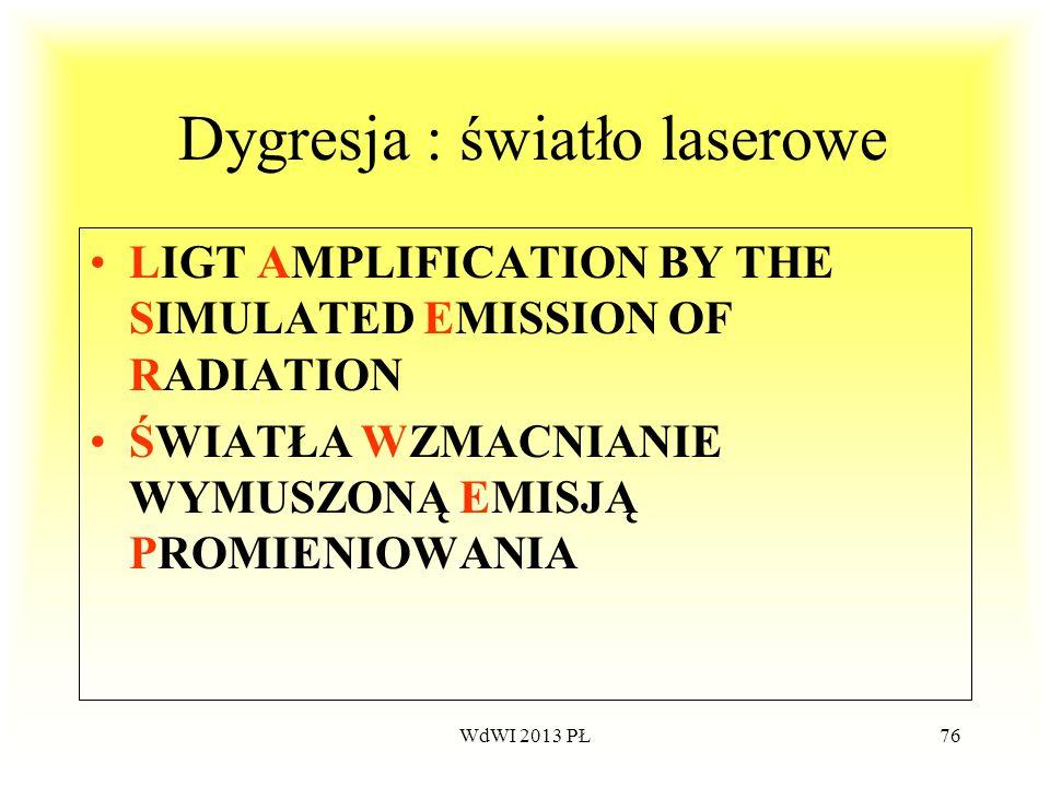WdWI 2013 PŁ76 Dygresja : światło laserowe LIGT AMPLIFICATION BY THE SIMULATED EMISSION OF RADIATION ŚWIATŁA WZMACNIANIE WYMUSZONĄ EMISJĄ PROMIENIOWAN