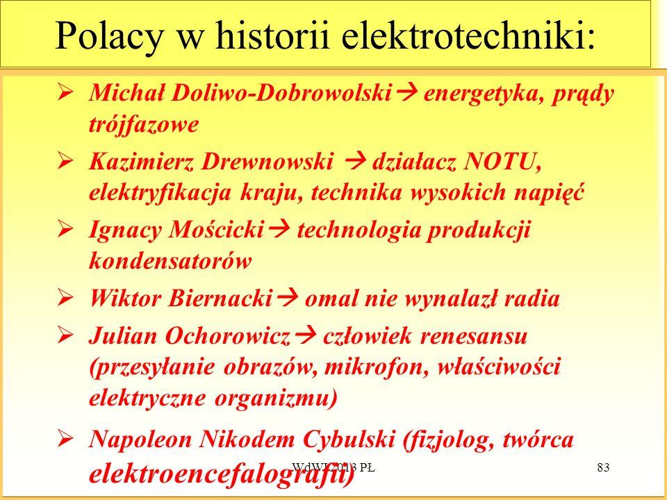 WdWI 2013 PŁ83 Polacy w historii elektrotechniki: Michał Doliwo-Dobrowolski energetyka, prądy trójfazowe Kazimierz Drewnowski działacz NOTU, elektryfi