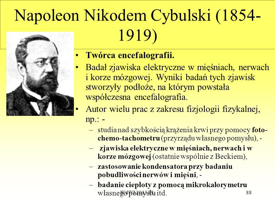 WdWI 2013 PŁ88 Napoleon Nikodem Cybulski (1854- 1919) Twórca encefalografii. Badał zjawiska elektryczne w mięśniach, nerwach i korze mózgowej. Wyniki
