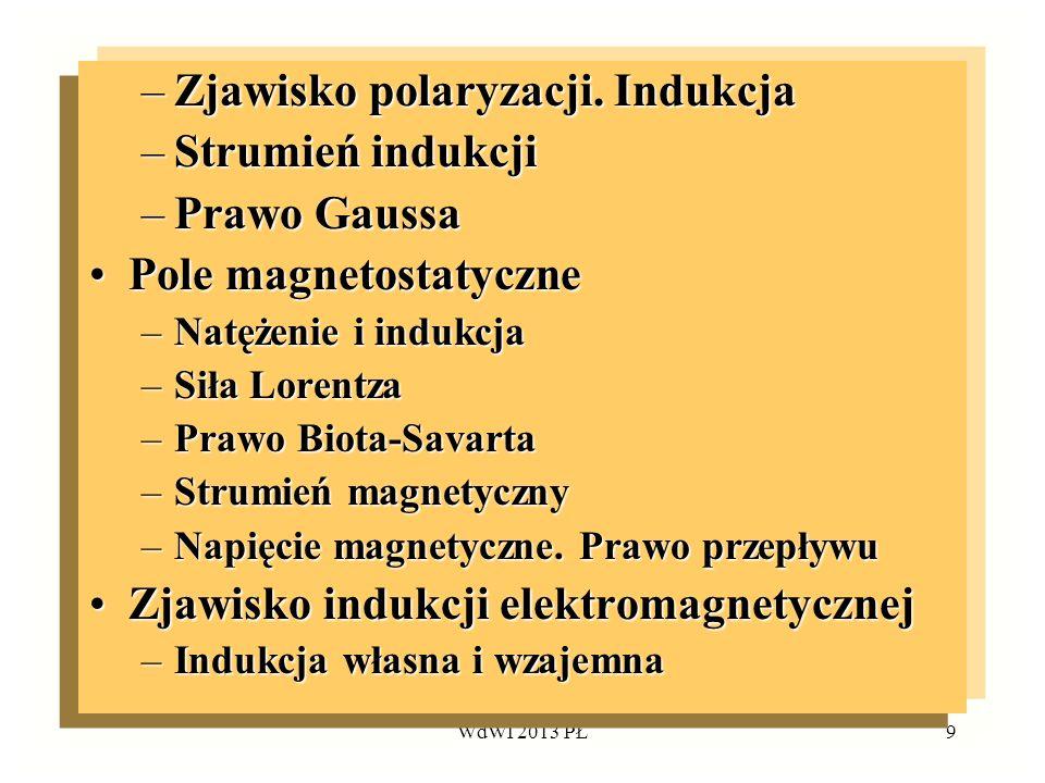 WdWI 2013 PŁ9 –Zjawisko polaryzacji. Indukcja –Strumień indukcji –Prawo Gaussa Pole magnetostatycznePole magnetostatyczne –Natężenie i indukcja –Siła