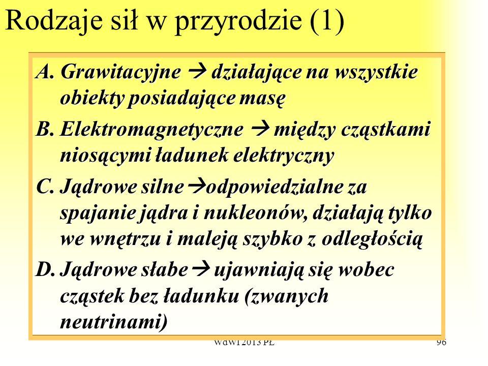 WdWI 2013 PŁ96 Rodzaje sił w przyrodzie (1) A.Grawitacyjne A.Grawitacyjne działające na wszystkie obiekty posiadające masę B.Elektromagnetyczne B.Elek